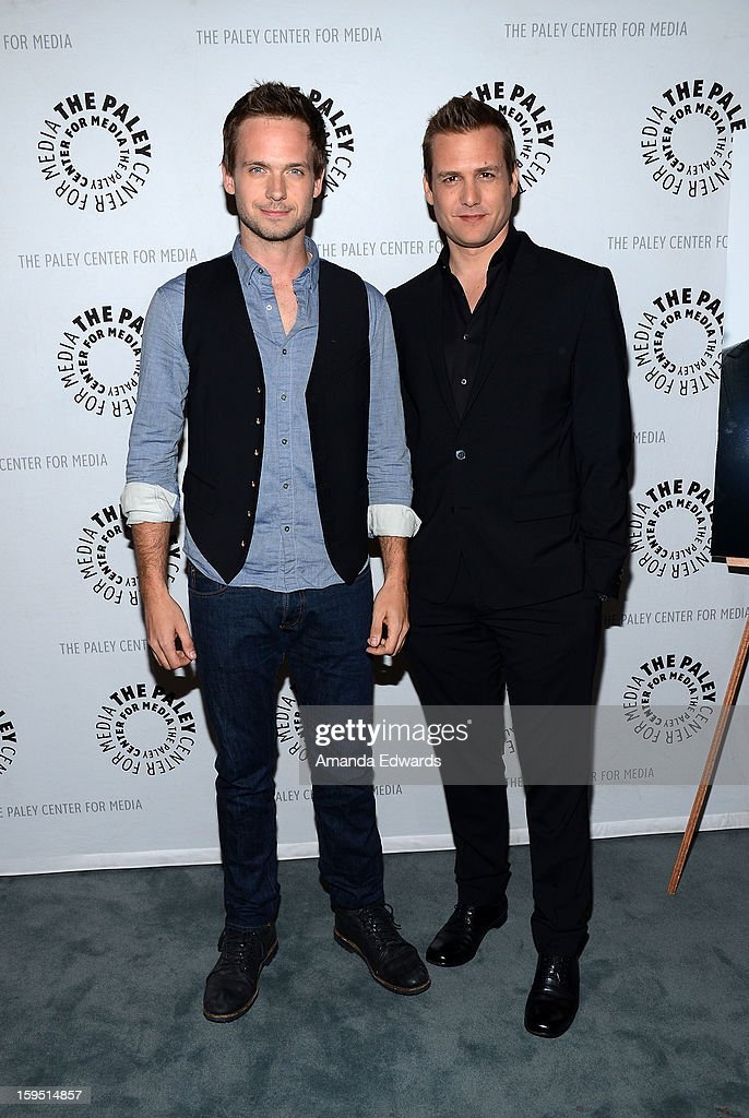 Actors <a gi-track='captionPersonalityLinkClicked' href=/galleries/search?phrase=Patrick+J.+Adams&family=editorial&specificpeople=4195512 ng-click='$event.stopPropagation()'>Patrick J. Adams</a> (L) and <a gi-track='captionPersonalityLinkClicked' href=/galleries/search?phrase=Gabriel+Macht&family=editorial&specificpeople=240398 ng-click='$event.stopPropagation()'>Gabriel Macht</a> arrive at The Paley Center For Media Presents An Evening With 'Suits' Mid-Season Premiere Screening And Panel at The Paley Center for Media on January 14, 2013 in Beverly Hills, California.