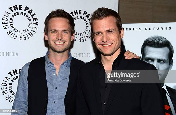 Actors Patrick J Adams and Gabriel Macht arrive at The Paley Center For Media Presents An Evening With 'Suits' MidSeason Premiere Screening And Panel...