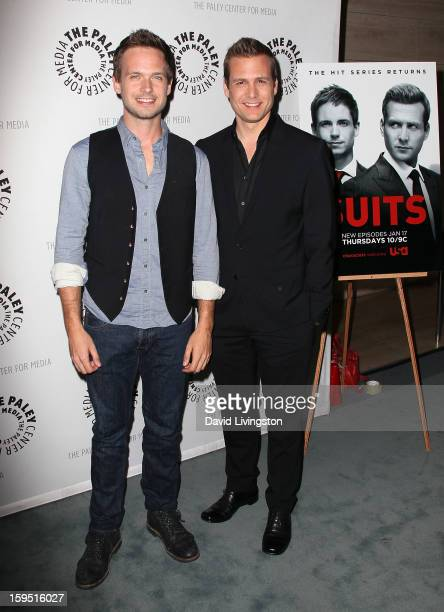 Actors Patrick J Adams and Gabriel Macht attend The Paley Center for Media's presentation of An Evening With 'Suits' at The Paley Center for Media on...
