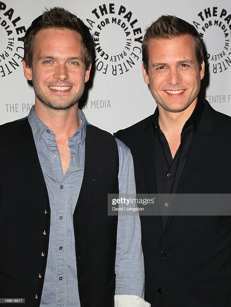 Actors <a gi-track='captionPersonalityLinkClicked' href=/galleries/search?phrase=Patrick+J.+Adams&family=editorial&specificpeople=4195512 ng-click='$event.stopPropagation()'>Patrick J. Adams</a> (L) and <a gi-track='captionPersonalityLinkClicked' href=/galleries/search?phrase=Gabriel+Macht&family=editorial&specificpeople=240398 ng-click='$event.stopPropagation()'>Gabriel Macht</a> attend The Paley Center for Media's presentation of An Evening With 'Suits' at The Paley Center for Media on January 14, 2013 in Beverly Hills, California.