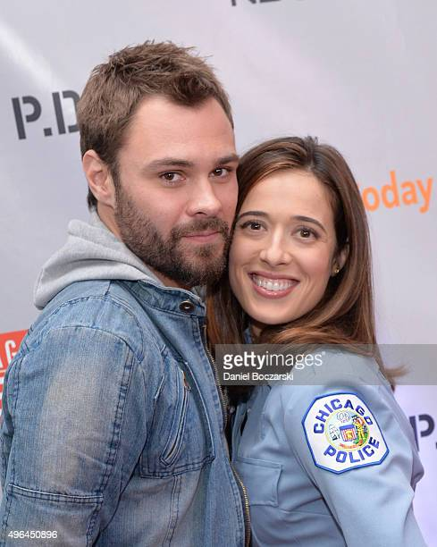 Actors Patrick John Flueger and Marina Squerciati attend a press junket for NBC's 'Chicago Fire' 'Chicago PD' and 'Chicago Med' at Cinespace Chicago...