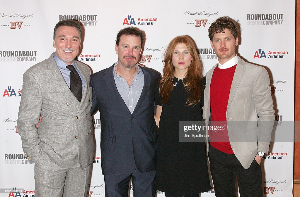 Actors Patrick Page, Douglas Hodge, Clemence Poesy and Kyle Soller attend 'Cyrano De Bergerac' Broadway Opening Night After Party at American Airlines Theatre on October 11, 2012 in New York City.