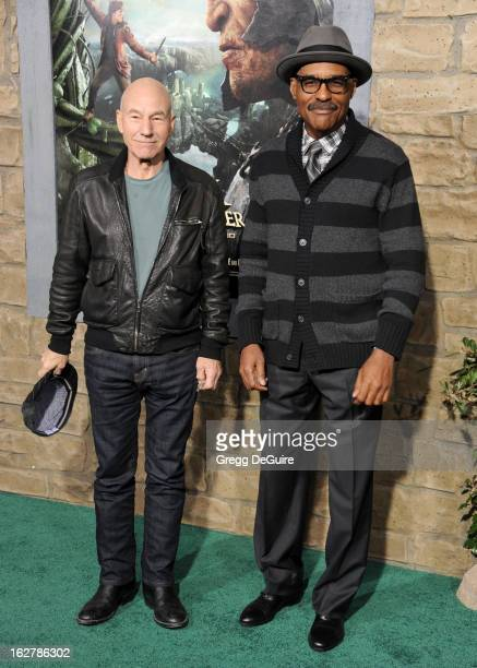 Actors Patrick Stewart and Michael Dorn arrive at the Los Angeles premiere of 'Jack The Giant Slayer' at TCL Chinese Theatre on February 26 2013 in...