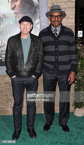 Actors Patrick Stewart and Michael Dorn attend the Premiere Of New Line Cinema's 'Jack The Giant Slayer' at the TCL Chinese Theatre on February 26...