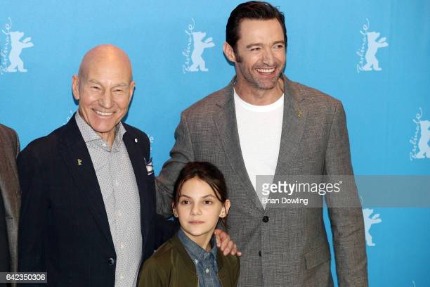Actors Patrick Stewart Dafne Keen and Hugh Jackman attend the 'Logan' photo call during the 67th Berlinale International Film Festival Berlin at...