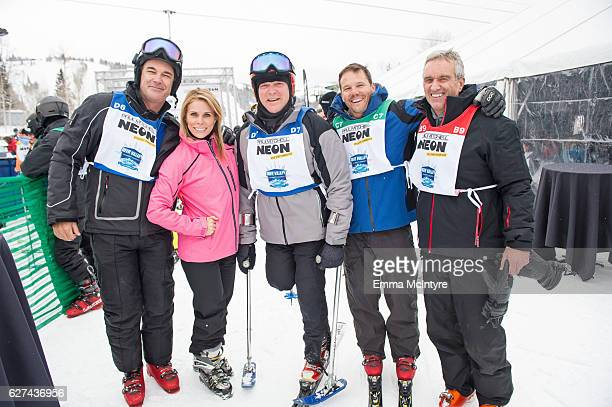 Actors Patrick Warburton and Cheryl Hines Edward M Kennedy Jr actor Dylan Bruno and Robert F Kennedy Jr attend the 2016 Deer Valley Celebrity Skifest...