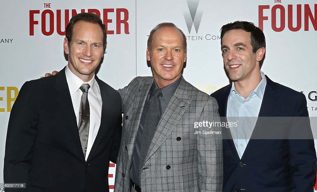 Actors Patrick Wilson, Michael Keaton and B. J. Novak attend the screening of 'The Founder' hosted by The Weinstein Company with Grey Goose at The Roxy on January 18, 2017 in New York, New York.