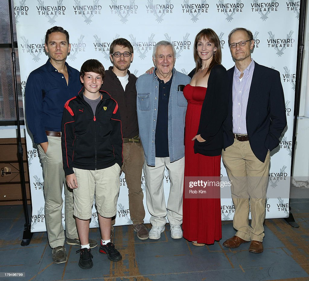 Actors Paul Anthony Stewart, Frankie Seratch, playwright Greg Pierce, composer <a gi-track='captionPersonalityLinkClicked' href=/galleries/search?phrase=John+Kander&family=editorial&specificpeople=631079 ng-click='$event.stopPropagation()'>John Kander</a>, actors <a gi-track='captionPersonalityLinkClicked' href=/galleries/search?phrase=Julia+Murney&family=editorial&specificpeople=171553 ng-click='$event.stopPropagation()'>Julia Murney</a> and <a gi-track='captionPersonalityLinkClicked' href=/galleries/search?phrase=David+Hyde+Pierce&family=editorial&specificpeople=210743 ng-click='$event.stopPropagation()'>David Hyde Pierce</a> attend 'The Landing' Cast Photo Call at Roundabout Theatre Company Rehearsal Studios on September 4, 2013 in New York City.