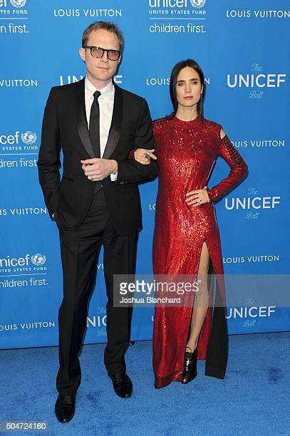 Actors Paul Bettany and Jennifer Connelly attend the 6th Biennial UNICEF Ball at the Beverly Wilshire Four Seasons Hotel on January 12 2016 in...