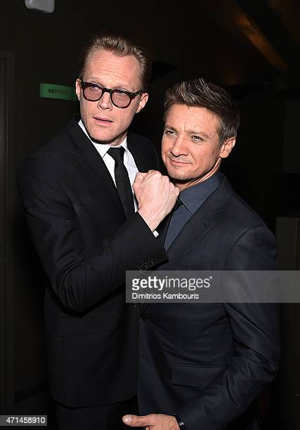 Actors Paul Bettany and Jeremy Renner attend The Cinema Society Audi screening of Marvel's 'Avengers Age of Ultron' at SVA Theater on April 28 2015...
