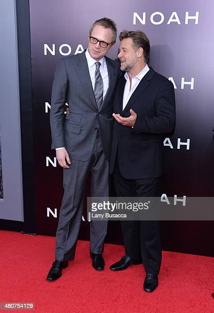 Actors Paul Bettany and Russell Crowe attend the New York premiere of Paramount Pictures' 'Noah' at the Ziegfeld Theatre on March 26 2014 in New York...