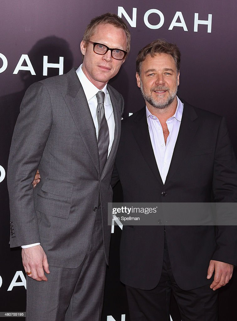 Actors <a gi-track='captionPersonalityLinkClicked' href=/galleries/search?phrase=Paul+Bettany&family=editorial&specificpeople=202591 ng-click='$event.stopPropagation()'>Paul Bettany</a> and <a gi-track='captionPersonalityLinkClicked' href=/galleries/search?phrase=Russell+Crowe&family=editorial&specificpeople=202609 ng-click='$event.stopPropagation()'>Russell Crowe</a> attend the 'Noah' New York Premiere at Ziegfeld Theatre on March 26, 2014 in New York City.