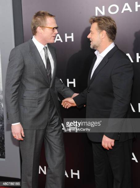 Actors Paul Bettany and Russell Crowe attend the 'Noah' New York premiere at Ziegfeld Theatre on March 26 2014 in New York City