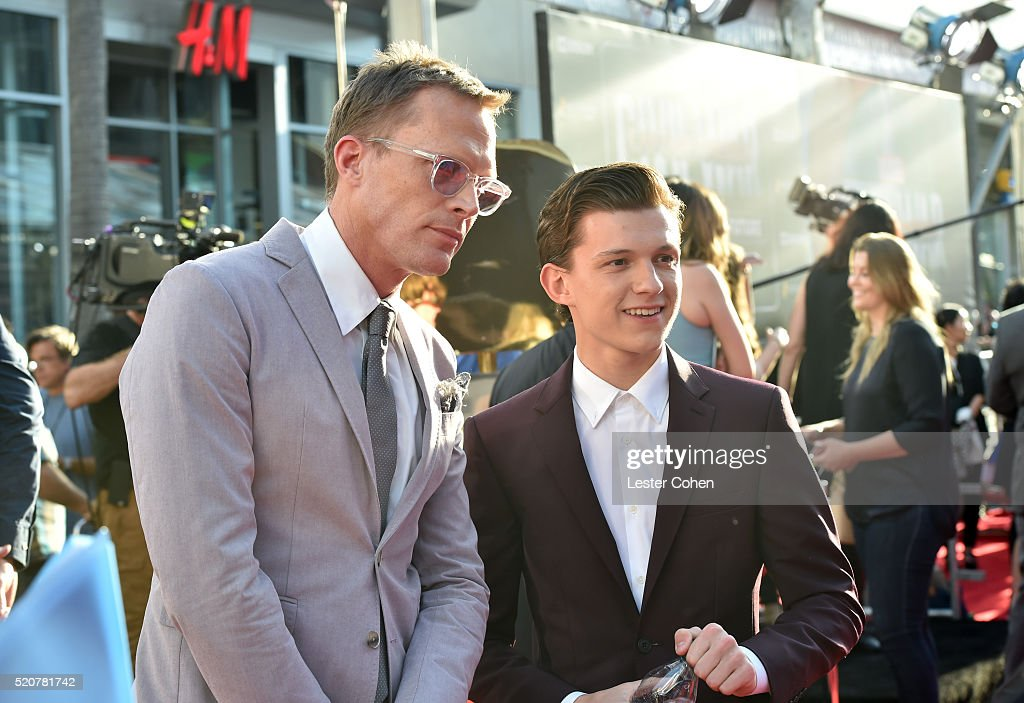 Actors Paul Bettany and Tom Holland attend The World Premiere of Marvel's 'Captain America Civil War' at Dolby Theatre on April 12 2016 in Los...
