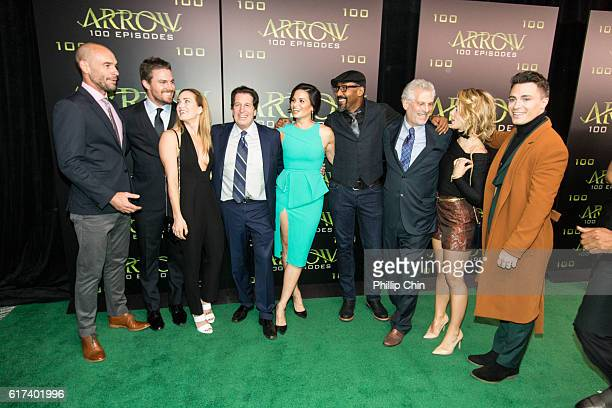 Actors Paul Blackthorne Stephen Amell Caity Lotz President and Chief Content Officer Warner Bros Television Group Peter Roth actors Katrina Law Jesse...