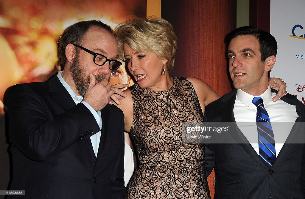 Actors <a gi-track='captionPersonalityLinkClicked' href=/galleries/search?phrase=Paul+Giamatti&family=editorial&specificpeople=202498 ng-click='$event.stopPropagation()'>Paul Giamatti</a>, <a gi-track='captionPersonalityLinkClicked' href=/galleries/search?phrase=Emma+Thompson&family=editorial&specificpeople=202848 ng-click='$event.stopPropagation()'>Emma Thompson</a> and <a gi-track='captionPersonalityLinkClicked' href=/galleries/search?phrase=B.J.+Novak&family=editorial&specificpeople=745545 ng-click='$event.stopPropagation()'>B.J. Novak</a> attend the U.S. premiere of Disney's 'Saving Mr. Banks', the untold backstory of how the classic film 'Mary Poppins' made it to the screen, at the Walt Disney Studios on December 9, 2013 in Burbank, California. The film opens this Holiday season.