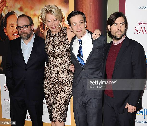 Actors Paul Giamatti Emma Thompson BJ Novak and Jason Schwartzman attend the premiere of 'Saving Mr Banks' at Walt Disney Studios on December 9 2013...