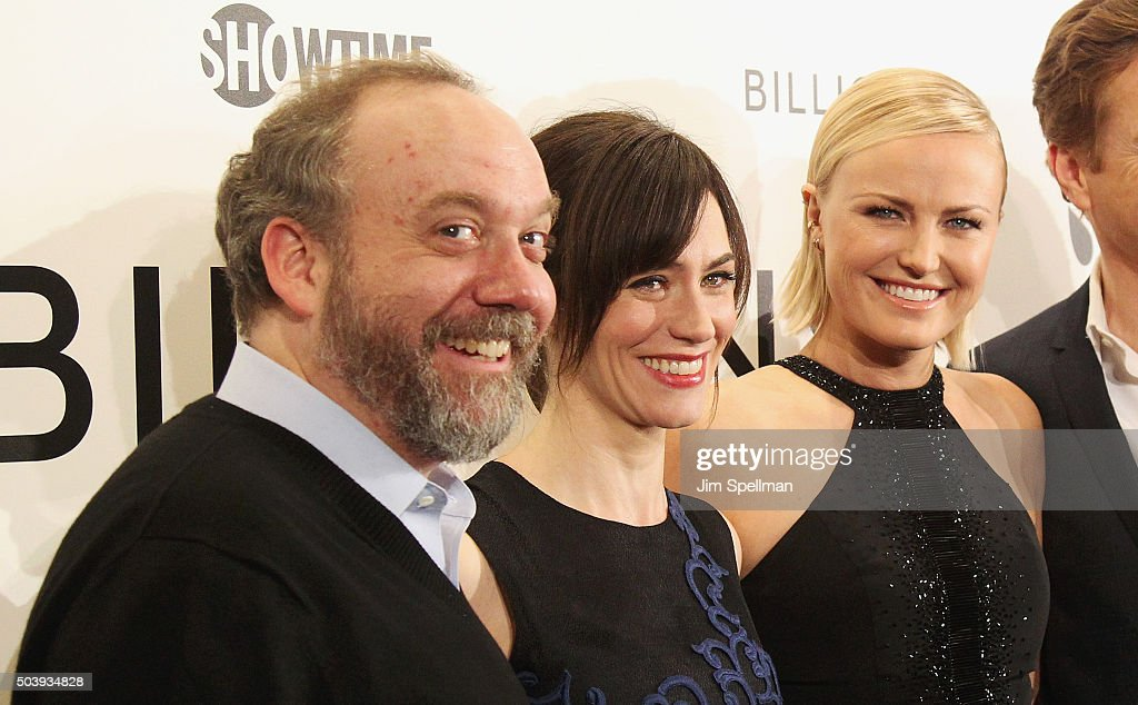 Actors Paul Giamatti, Maggie Siff and Malin Akerman attend the 'Billions' series premiere at Museum of Modern Art on January 7, 2016 in New York City.