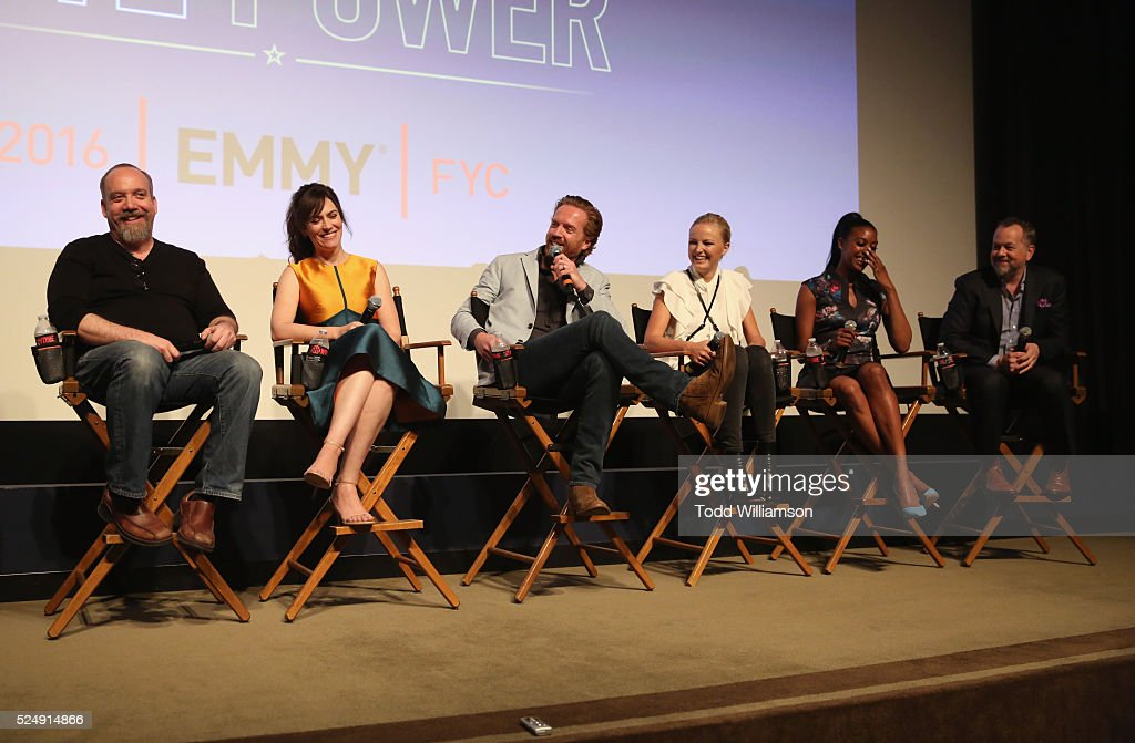 Actors Paul Giamatti Maggie Siff Damian Lewis Malin Akerman Condola Rashad and David Costabile speak onstage at For Your Consideration Screening and...