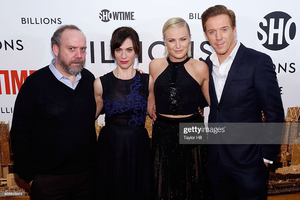 Actors Paul Giamatti, Maggie Siff, Malin Akerman, and Damian Lewis attend Showtime's 'Billions' series premiere at Museum of Modern Art on January 7, 2016 in New York City.