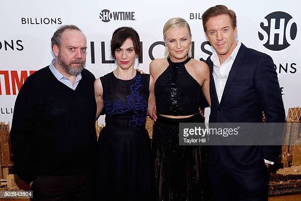 Actors Paul Giamatti Maggie Siff Malin Akerman and Damian Lewis attend Showtime's 'Billions' series premiere at Museum of Modern Art on January 7...