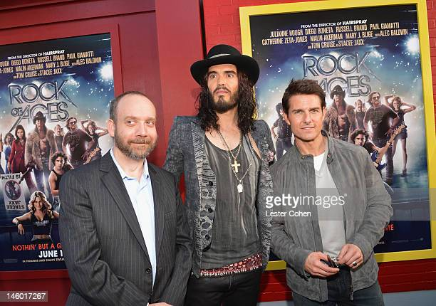 Actors Paul Giamatti Russell Brand and Tom Cruise arrive at the 'Rock of Ages' Los Angeles premiere held at Grauman's Chinese Theatre on June 8 2012...