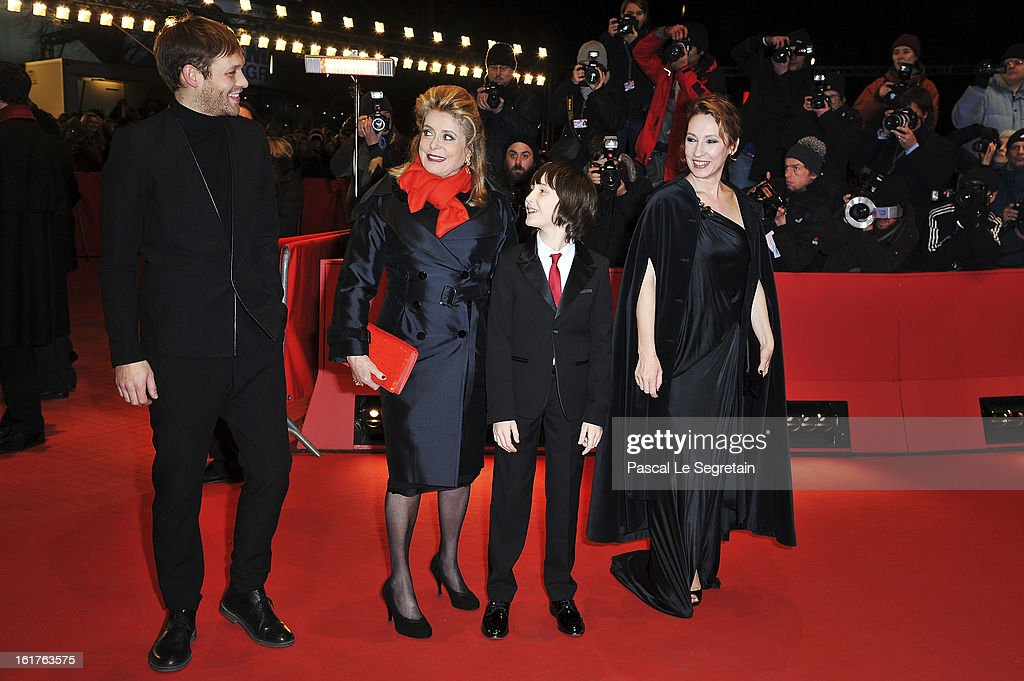 Actors Paul Hamy, <a gi-track='captionPersonalityLinkClicked' href=/galleries/search?phrase=Catherine+Deneuve&family=editorial&specificpeople=123833 ng-click='$event.stopPropagation()'>Catherine Deneuve</a>, Nemo Schiffman and director Emmanuelle Bercot attend the 'On My Way' Premiere during the 63rd Berlinale International Film Festival at Berlinale Palast on February 15, 2013 in Berlin, Germany.