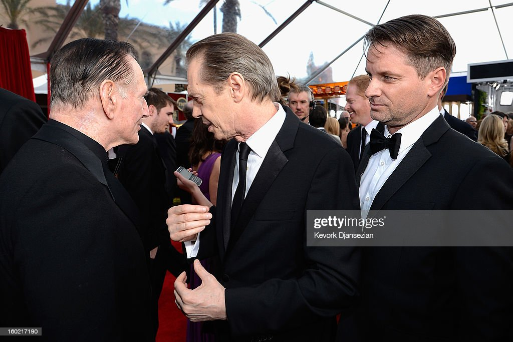Actors Paul Herman, Steve Buscemi, and <a gi-track='captionPersonalityLinkClicked' href=/galleries/search?phrase=Shea+Whigham&family=editorial&specificpeople=660577 ng-click='$event.stopPropagation()'>Shea Whigham</a> arrive at the 19th Annual Screen Actors Guild Awards held at The Shrine Auditorium on January 27, 2013 in Los Angeles, California.