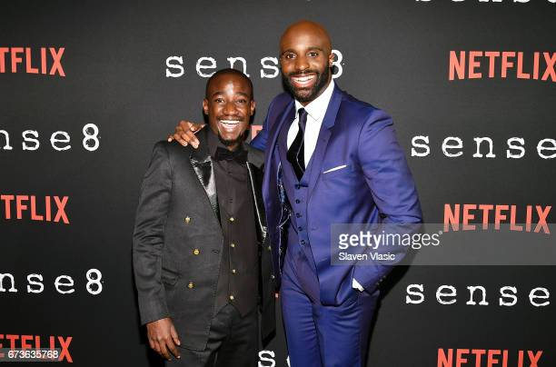 Actors Paul Ogola and Toby Onwumere attend 'Sense8' New York Premiere at AMC Lincoln Square Theater on April 26 2017 in New York City