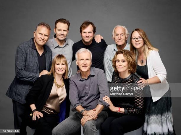 Actors Paul Reiser Michael Biehn Bill Paxton Lance Henriksen Carrie Henn Sigourney Weaver with director James Cameron and producer Gale Anne Hurd...