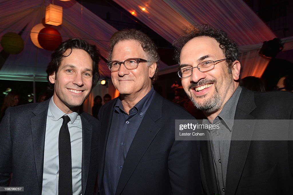 Actors <a gi-track='captionPersonalityLinkClicked' href=/galleries/search?phrase=Paul+Rudd&family=editorial&specificpeople=209014 ng-click='$event.stopPropagation()'>Paul Rudd</a>, <a gi-track='captionPersonalityLinkClicked' href=/galleries/search?phrase=Albert+Brooks&family=editorial&specificpeople=663700 ng-click='$event.stopPropagation()'>Albert Brooks</a> and Robert Smigel attend 'This Is 40' - Los Angeles Premiere - After Party at Grauman's Chinese Theatre on December 12, 2012 in Hollywood, California.