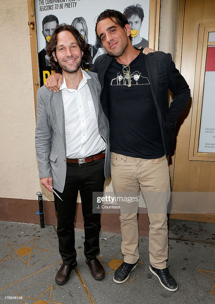 Actors Paul Rudd and Bobby Cannavale attend the 'Reasons To Be Happy' Broadway Opening Night at Lucille Lortel Theatre on June 11 2013 in New York...