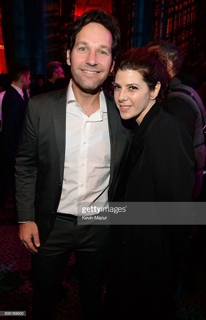 Actors Paul Rudd and Marisa Tomei attend the after party of the New York premiere of 'Vinyl' at Ziegfeld Theatre on January 15, 2016 in New York City.