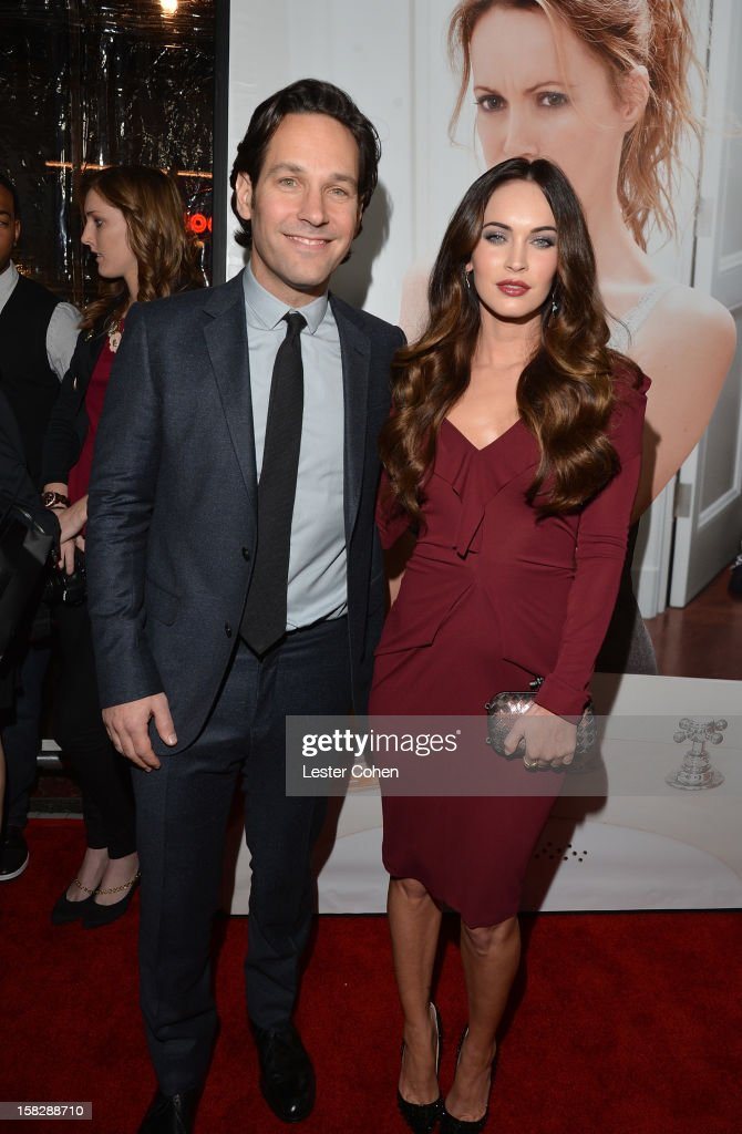 Actors <a gi-track='captionPersonalityLinkClicked' href=/galleries/search?phrase=Paul+Rudd&family=editorial&specificpeople=209014 ng-click='$event.stopPropagation()'>Paul Rudd</a> and <a gi-track='captionPersonalityLinkClicked' href=/galleries/search?phrase=Megan+Fox&family=editorial&specificpeople=2239934 ng-click='$event.stopPropagation()'>Megan Fox</a> attend 'This Is 40' - Los Angeles Premiere - Red Carpet at Grauman's Chinese Theatre on December 12, 2012 in Hollywood, California.