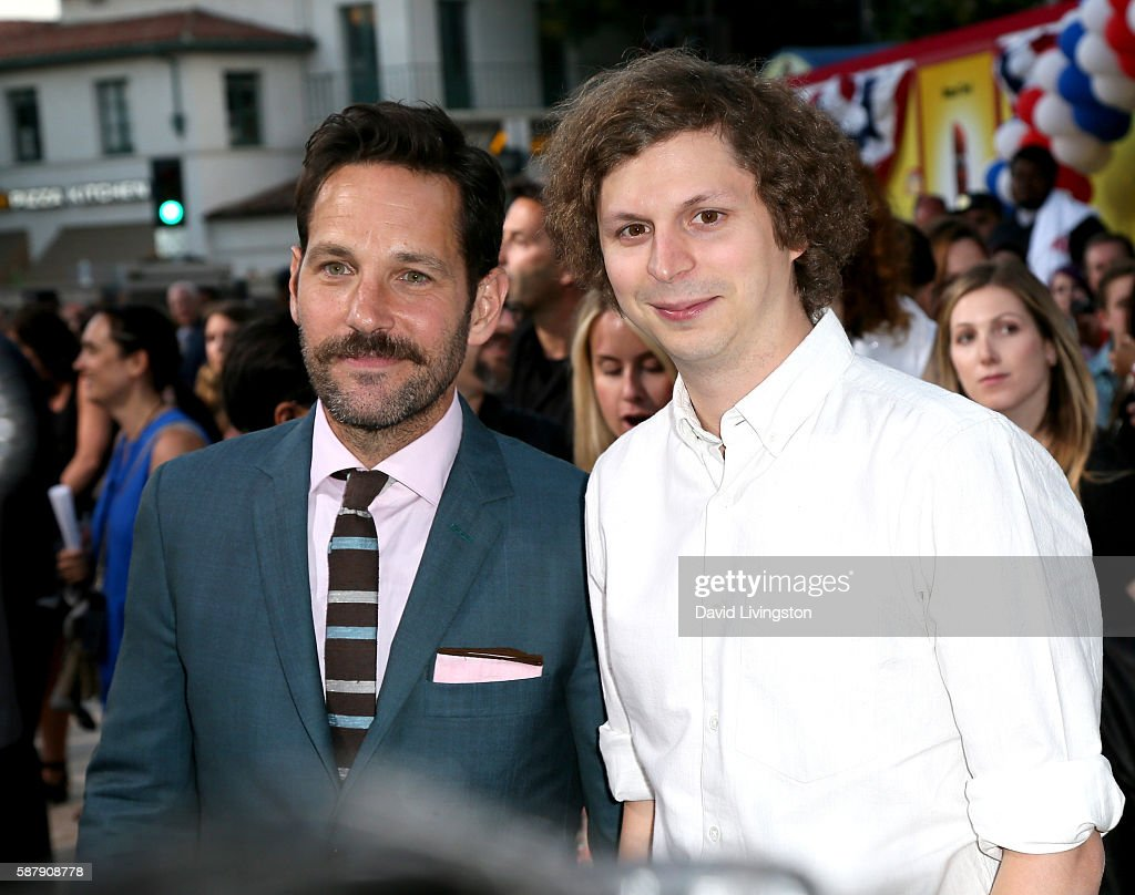 Actors Paul Rudd and Michael Cera attend the premiere of Sony's 'Sausage Party' at Regency Village Theatre on August 9 2016 in Westwood California