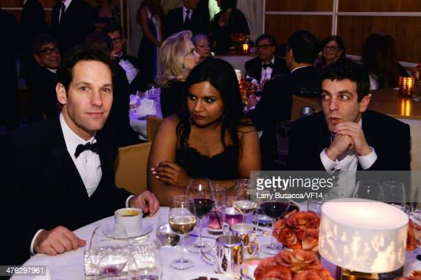 Actors Paul Rudd Mindy Kaling and B J Novak attend the 2014 Vanity Fair Oscar Party Viewing Dinner Hosted By Graydon Carter on March 2 2014 in West...