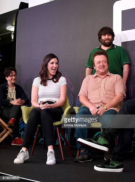 Actors Paul Rust D'Arcy Carden Neil Casey and John Gemberling speak onstage during the 'Comedy Improv AllStars Showcase' panel at Entertainment...