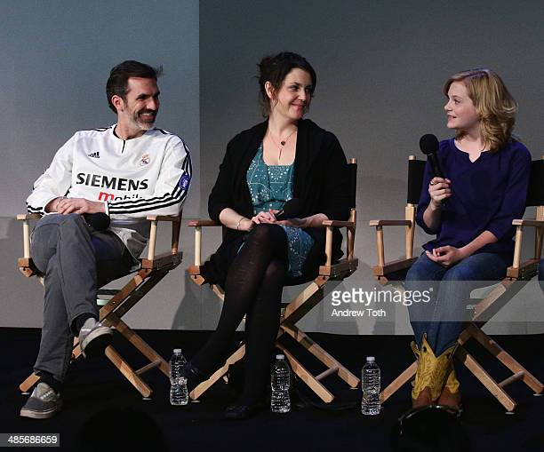 Actors Paul Schneider Melanie Lynskey and Audrey P Scott attend Meet The Filmmaker 'Goodbye To All That' during the 2014 Tribeca Film Festival at...