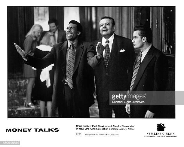 Actors Paul Sorvino and Chris Tucker and Charlie Sheen in a scene from the movie 'Money Talks ' circa 1997