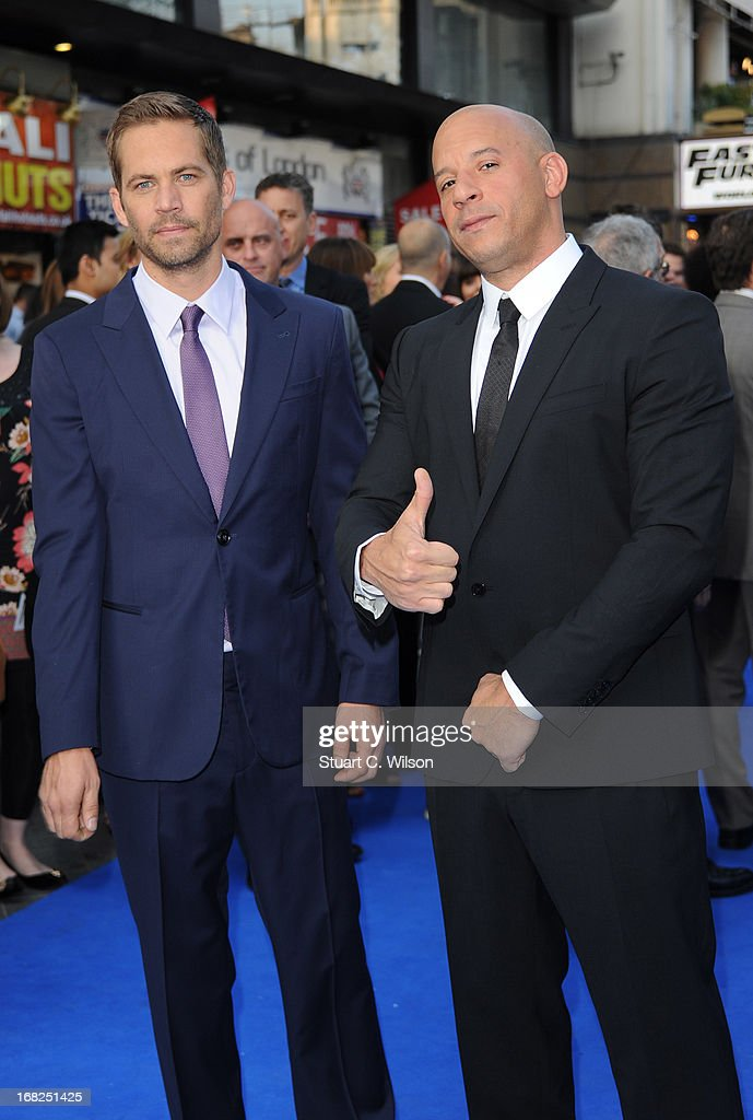 Actors Paul Walker and Vin Diesel attends the 'Fast Furious 6' World Premiere at The Empire Leicester Square on May 7 2013 in London England