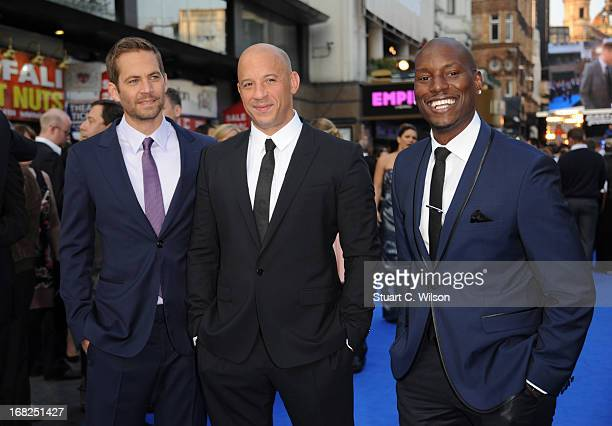 Actors Paul Walker Vin Diesel and Tyrese Gibson attend the 'Fast Furious 6' World Premiere at The Empire Leicester Square on May 7 2013 in London...