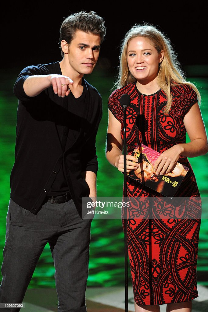 Actors Paul Wesley and Erika Christensen onstage during Spike TV's 'Scream 2011' at Universal Studios on October 15 2011 in Universal City California