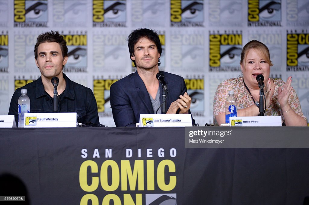 Actors Paul Wesley and Ian Somerhalder and writer/producer Julie Plec attend the 'The Vampire Diaries' panel during ComicCon International 2016 at...