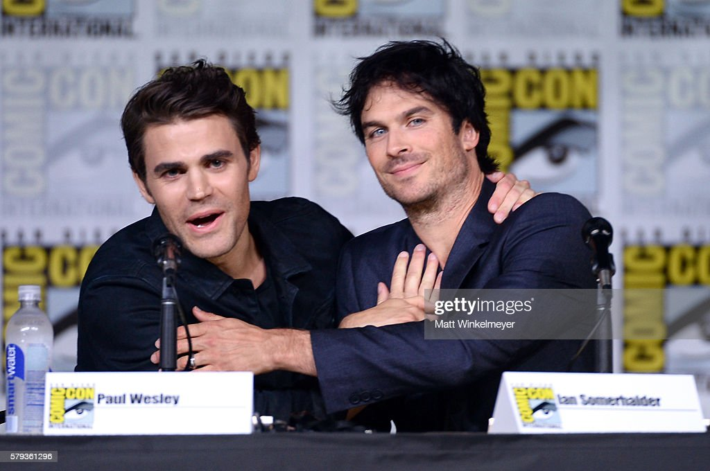 Actors Paul Wesley and Ian Somerhalder attend the 'The Vampire Diaries' panel during ComicCon International 2016 at San Diego Convention Center on...