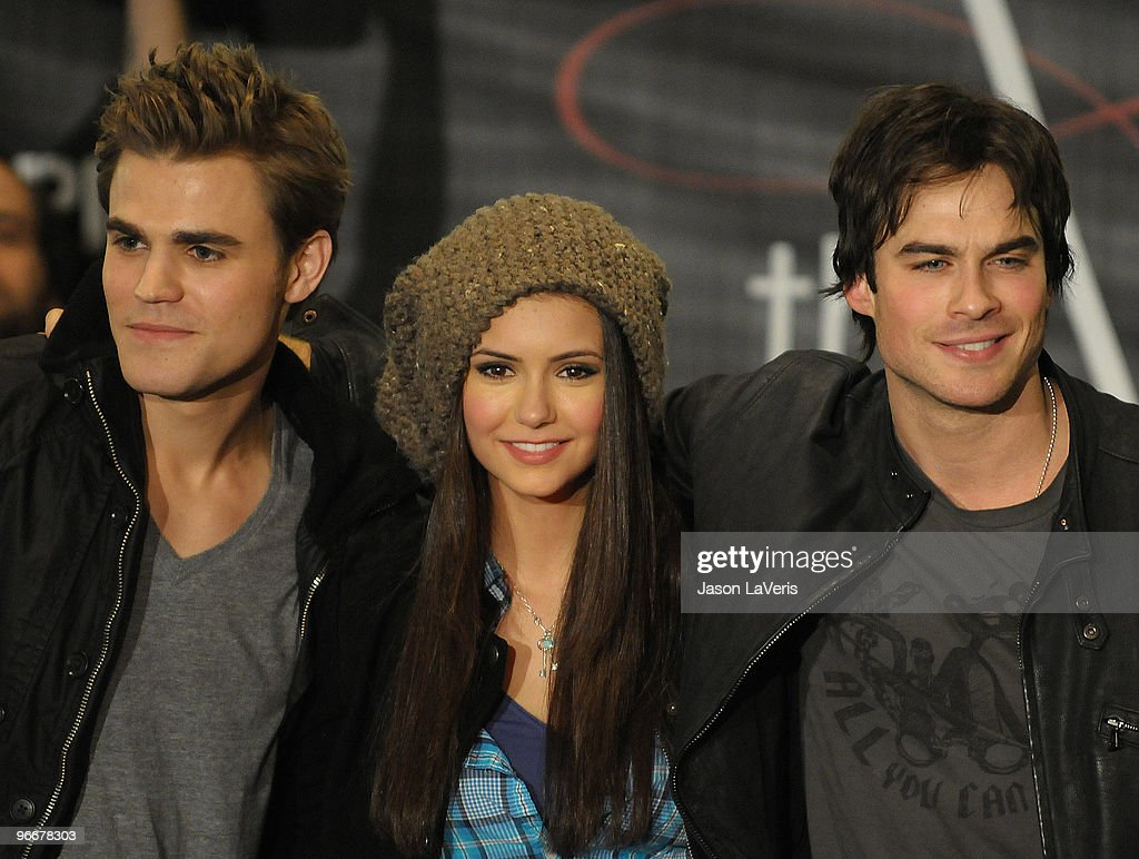 Actors Paul Wesley, Nina Dobrev and Ian Somerhalder attend 'The Vampire Diaries' Hot Topic tour at Hot Topic on February 13, 2010 in Canoga Park, California.