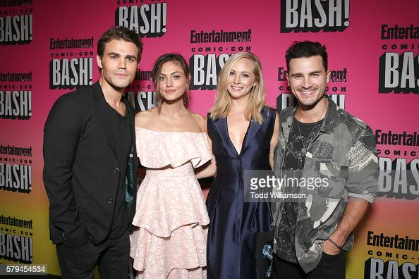 Actors Paul Wesley Phoebe Tonkin Candice King and Michael Malarkey attend Entertainment Weekly's ComicCon Bash held at Float Hard Rock Hotel San...