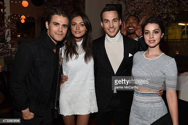 Actors Paul Wesley Phoebe Tonkin Chris Wood Charles Michael Davis and Adelaide Kane attend the CW Network's 2015 Upfront party at Park Avenue Spring...