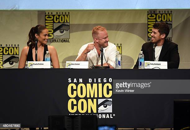 Actors Paula Patton Ben Foster and Toby Kebbell speak onstage at the Legendary Pictures panel during ComicCon International 2015 the at the San Diego...