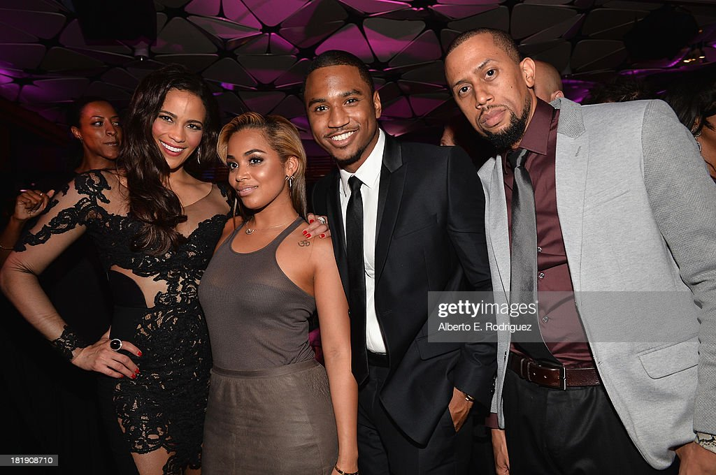 Actors Paula Patton, Lauren London, Trey Songz and Affion Crockett attend the after party for the premiere of Fox Searchlight Pictures' 'Baggage Claim' at the Conga Room on September 25, 2013 in Los Angeles, California.