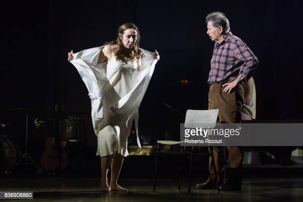 Actors Pauline Knowles and George Costigan perform on stage 'Oresteia This Restless House' during a photo call at Lyceum Theatre as part of the 70th...